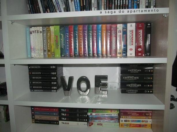 letras decorativas estante para filmes