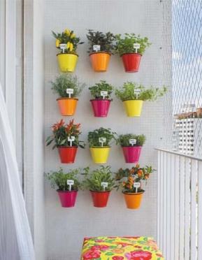 vasos como jardim vertical